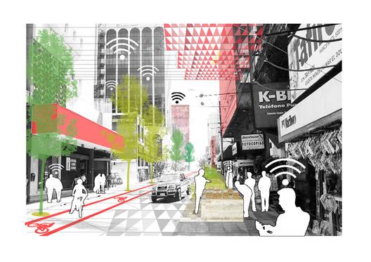 Recreación gráfica del corredor dinámico, calle con tráfico rodado. Fotomontaje: Plan CHA.