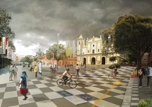 Corredor y espacio cívico frente a la Catedral. Fotomontaje del Plan CHA.