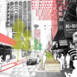 Recreación-gráfica-del-corredor-dinámico-calle-con-tráfico-rodado
